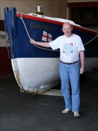 John Parr with the Chapman lifeboat
