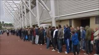 Queue for Wembley tickets at Swansea's Liberty Stadium