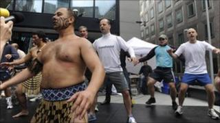 Participants perform the traditional Maori Haka with Manaia performance group