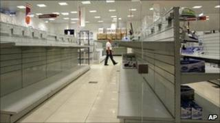 Empty shelves at a shop in Minsk