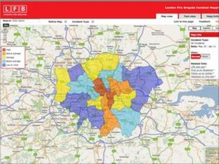 The London Fire Brigade incident map