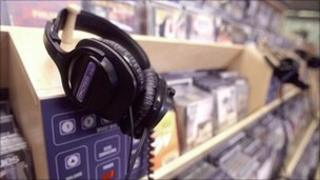 CDs in music store, BBC