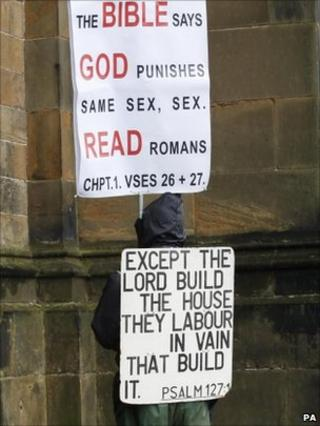 Protester in Edinburgh outside Church of Scotland General Assembly