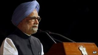 Indian PM Manmohan Sing in Delhi on 22 May 2011