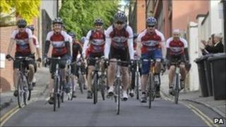 Riders prepare to set off from Bristol, on a charity cycle challenge in memory of Jo Yeates