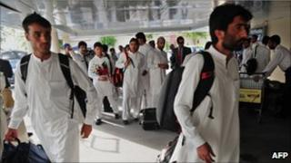 Afghanistan players arrive at Islamabad airport