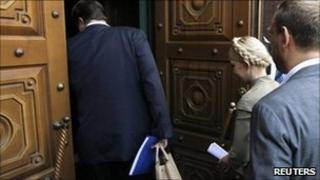 Yulia Tymoshenko enters the state prosecutor's office in Kiev, 24 May