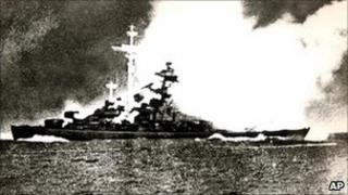 The Bismarck suffers a direct hit during battle in the Atlantic in 1941