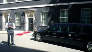 Dark glasses and a red carpet in Downing Street