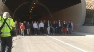 Walkers at Hindhead tunnel