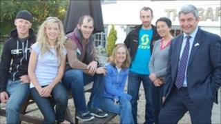 Members of the Canadian mountain bike team with Stephen Castle