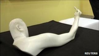"sculpture titled ""Marble Arm"" by Chinese dissident artist Ai Weiwei at Hong Kong International Art Fair May 25, 2011"