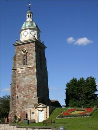 Clock in the Pepperpot tower in Upton-upon-Severn
