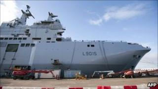 File picture of a Mistral high-tech amphibious helicopter carrier assault and command ship at the STX shipyard in Saint Nazaire, western France