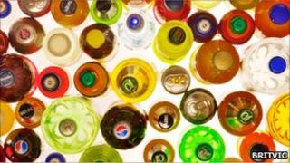 Selection of bottles photographed from above