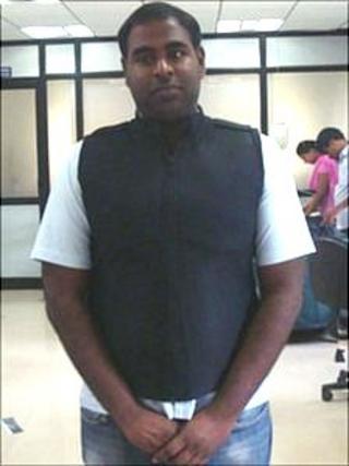 Kranthi Kumar Vistakula models his climate-control jacket
