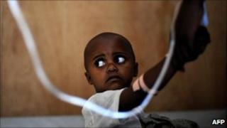 A child in DR Congo on a drip (Archive photograph 2008)