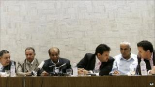 Libyan officers who defected from Col Gaddafi's regime, holding a news conference in Rome, 30 May 2011