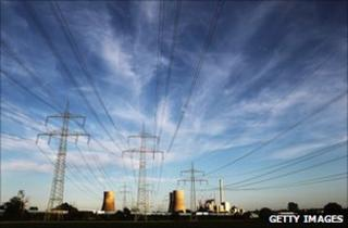Power lines lead away from the Kraftwerk Westfallen coal-burning power plant