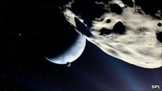 Earth-like planet as seen from rocky moon artwork