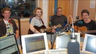 The Bloogs in the studio at BBC Radio Cornwall