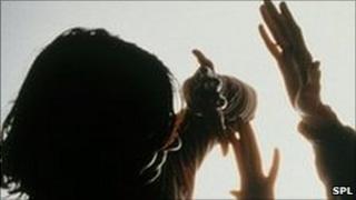 Domestic violence scenario posed by actors