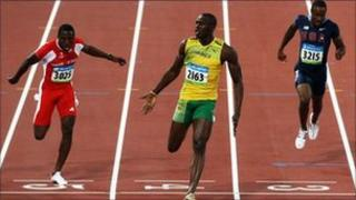 Usain Bolt winning the 100 metres at the 2008 Olympics