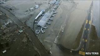 Destroyed runway at Sendai airport