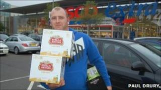Customer with beer