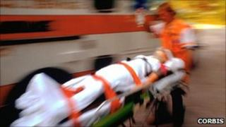 A patient on a stretcher