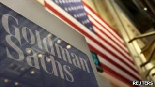 Goldman Sachs sign on the floor of the NYSE