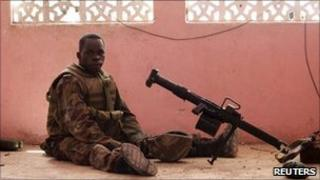 A Ugandan soldier of the African Union peacekeeping force in Mogadishu - 21 May 2011