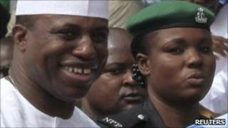 House of Representatives speaker Dimeji Bankole (l) file photo