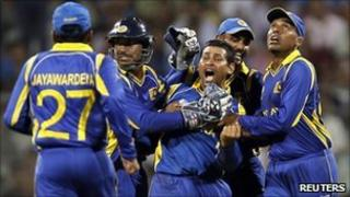 Sri Lanka players in action during the cricket World Cup