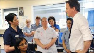 David Cameron with NHS staff