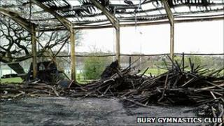 The burnt remains of Goshen Sports Centre