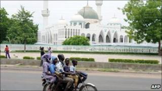 Family on motorbike in Maiduguri - file photo