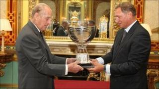 Prince Phillip gives David Hempleman-Adams the award