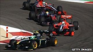 Cars racing during the 2010 Bahrain Grand Prix