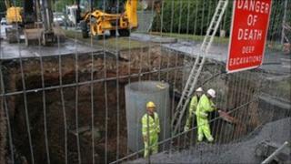 Hole in road in Shrewsbury