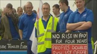 Workers outside Ifor Williams Trailers