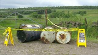 Dumped barrels at Hodge Lane, Uppertown