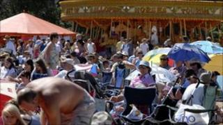 Crowds at Music on the Green, Martlesham, in 2010