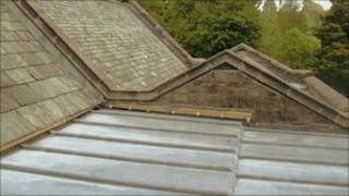 Roof damage at St Michael's Church in Shap