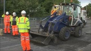 Roads repairs in Plymouth