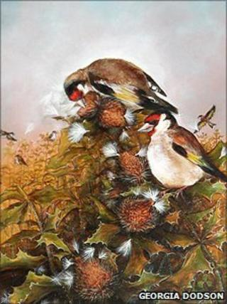 Georgia Dodson's winning painting, Goldfinches and Thistle-seeds (detail)