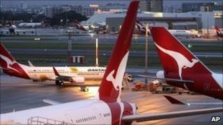 Qantas aircraft at Sydney's international airport