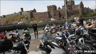 Bikers gather in Peel during the TT festival