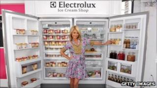 Model Kelly Ripa in front of an Electrolux fridge freezer