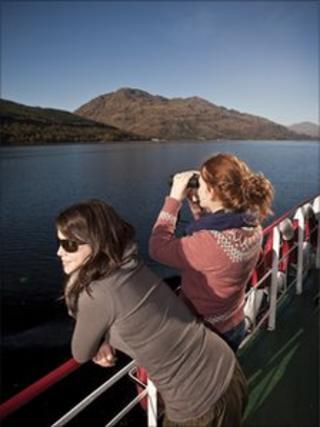 Visitors on water bus on Loch Lomond